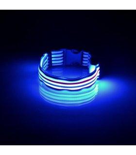 Świecąca Obroża LED (Niebieska) w Paski Żeglarskie