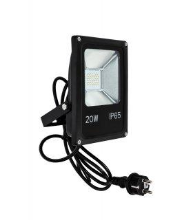 Naświetlacz LED 20W SLIM SMD z kablem + wtyczką