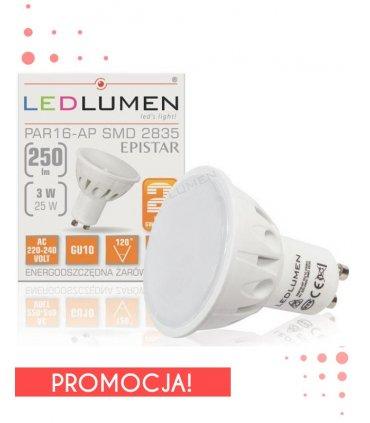 Żarowka LED 3W GU10 250lm barwa Ciepła - WYPRZEDAŻ
