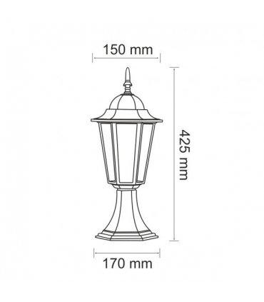 Lampa ogrodowa alum POLUX LIGURIA-LT GLA104LTLBK niska czarna