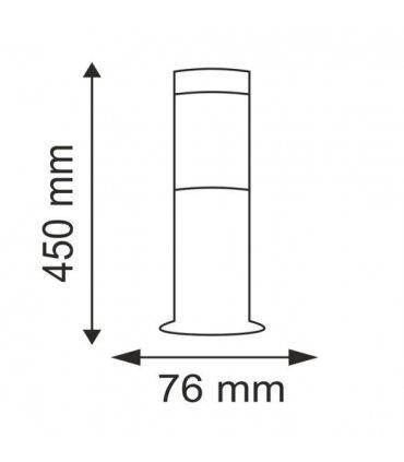 lampa ogrodowa inox POLUX LIVIA CIE014-45 tuba niska satynowa