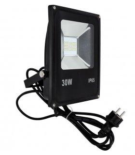 Naświetlacz LED 30W SLIM SMD z kablem + wtyczką