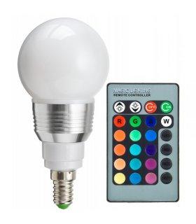 Żarówka LED E14 RGB 5W na pilota