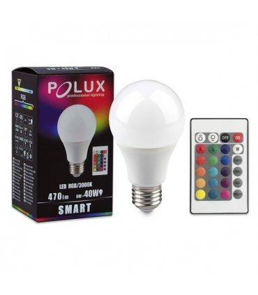 Żarówka LED E27 6W na pilota RGB+Ciepłe Światło