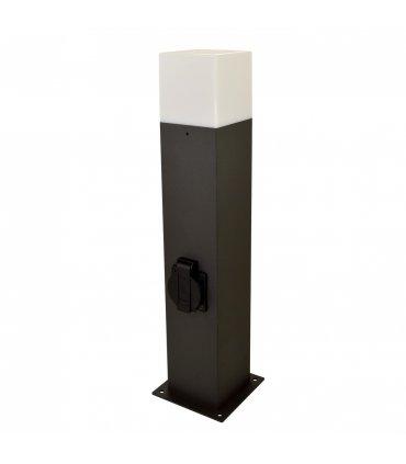Lampa ogrodowa aluminiowa POLUX NEW YORK GLA505QS144GFSM 1xE27 średnia 44cm z gniazdem