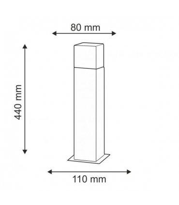 Lampa ogrodowa aluminiowa POLUX NEW YORK GLA505QS144GFSM 1xE27 średnia 44cm z czujnikiem