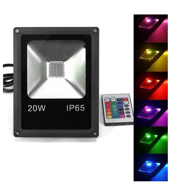 Naświetlacz LED 20W RGB IP65 Memory na pilota IR