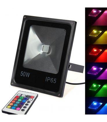 Naświetlacz LED 50W RGB MEMORY na pilota IR
